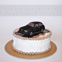 My first cake - checkers board cake with car on top :D #cake #car #checkers…