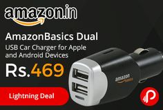 Amazon #LightningDeal is offering 63% off on #AmazonBasics Dual USB Car Charger for Apple and Android Devices Just at Rs.469. Two 2 ampere USB ports to charge multiple devices at the same time, 20 watts power charges two devices simultaneously at full speed,   http://www.paisebachaoindia.com/amazonbasics-dual-usb-car-charger-for-apple-and-android-devices-just-at-rs-469-amazon/
