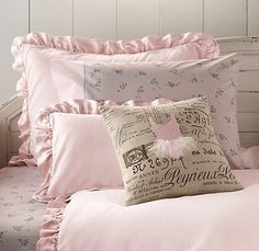 Washed velvet bedding - I know it's for a little girl, but I think i could remove the ballerinas and replace it with something more sophisticated. The shade of pink is perfect!