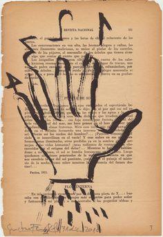 """""""Cuaderno de fin de año""""/31 dic.2010 tinta china sobre vieja hoja de libro. gustavo fernÁndez"""