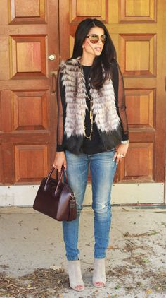 Fur Vest, Vince Booties, Givenchy bag