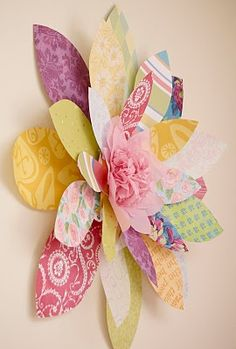 Scrapbook paper #flower - this one is attached to a wall but you could use the same concept and add one as an embellishment to a card or gift or make a garland of them.