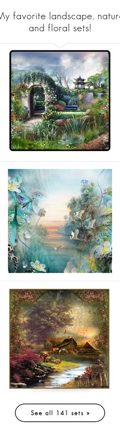 """""""My favorite landscape, nature and floral sets!"""" by craftygeminicreation ❤ liked on Polyvore featuring art, beauty, beautiful, roses, lastchance, camping, critters, vintage, artset and artexpression"""