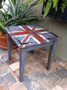 Union Jack Side Table by upcyclingAmerica on Etsy