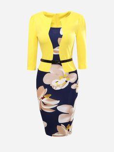 Asymmetric Neckline Floral Printed Patchwork Bodycon Dress