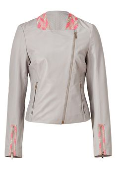 Silver Grey-Multi Embroidered Leather Jacket detail 0