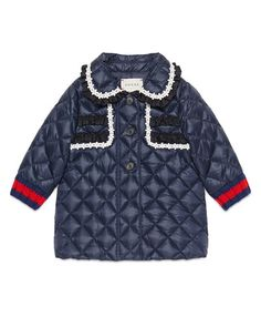Z1QWH Gucci Quilted Collared Down Coat, Royal Blue, Size 12-36 Months