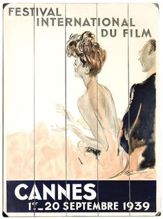 1939 Cannes Film Festival Wooden Sign...