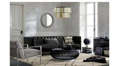 savile leather sofa   CB2
