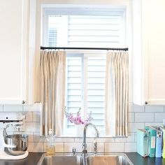 Kitchen Cafe Curtains, Transitional, Kitchen, Kerrisdale Design