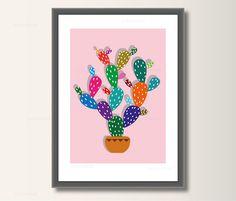 Kaktus Art Print Poster Wandkunst Kinderzimmer von ArtPrintWolff