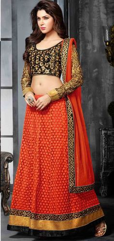 USD 51 Red Net Embroidery Lehenga Choli 44427