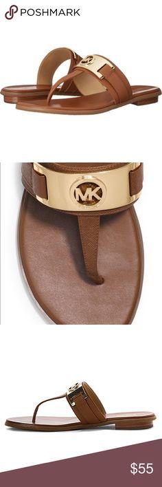 Michael kors warren thong Camel flip flop with mk logo MICHAEL Michael Kors Shoes Sandals