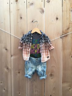 Baby grunge ACDC outfit 3 mos Bleached flannel onsie and pants 3 piece infant outfit Unisex Gender Nuetral by RestoredRose on Etsy