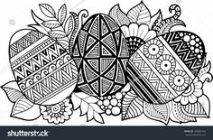 Vector coloring book. Easter eggs and flowers