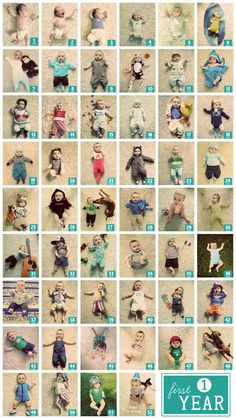 Neat idea. Takes dedication though! Weekly Baby Photos by Maud Bentley, via Behance