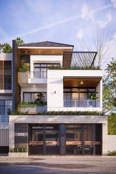 Modern House Facades, Modern Exterior House Designs, Modern Tiny House, Modern Architecture House, Modern House Plans, Modern Houses, Modern Home Exteriors, 3d House Plans, Tiny House Exterior