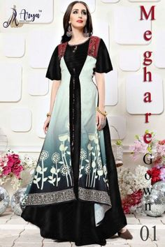 aryadress,maharani gown,designfull gown,fancy woman gown | Arya Dress Maker Evening Gowns Online, Designer Evening Gowns, Designer Gowns, Party Wear For Women, Fancy Gowns, Printed Gowns, Indian Gowns Dresses, Digital Print, Kurti Designs Party Wear