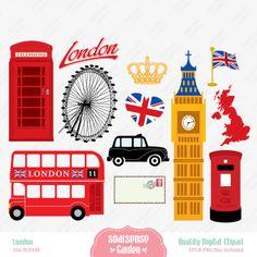 London Digital Clipart England Clipart por SSGARDEN en Etsy
