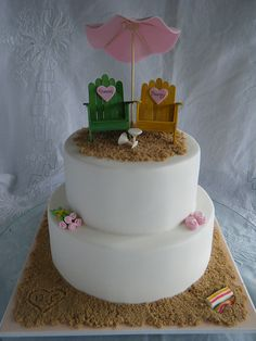 Tropical beach theme wedding cake with colours being green, yellow and pink. By Sarah of Bella Cakes. Cool!