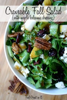 Craveable Fall Salad {with Maple Balsamic Dressing} You'll love the delicious fall flavors - pear, dried cranberries, candied pecans, and crumbled feta!