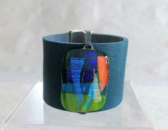 Leather and Dichroic Glass Cuff  Leather and Fused Glass