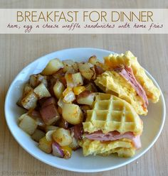 Breakfast for Dinner | Ham Egg n Cheese Waffle Sandwiches