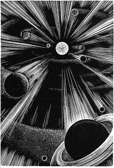 Wood engraving of planets by Lynd Ward from his wordless novel that was partially completed at the time of his death in 1985