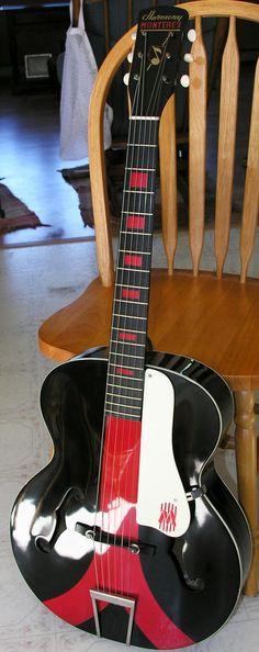 frettedchordophones: Harmony Monterey colorama guitar =Lardys Chordophone of the day - a year ago ==Lardys Chordophone of the day - 2 years ago --- https://www.pinterest.com/lardyfatboy/