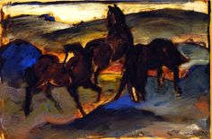 """""""Horses in a Pasture II"""" [also known as Three Horses], by Franz Marc, 1910"""