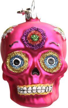 DIA DE LOS MUERTOS/DAY OF THE DEAD~SUGAR SKULL XMAS ORNAMENT PINK