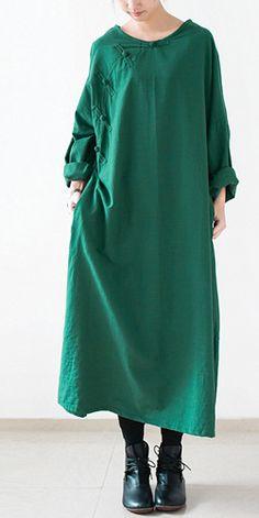 Green long spring linen dresses Vintage style cotton dress