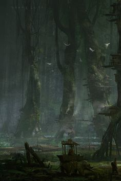 fantasy towns artwork swamp city Wallpaper HD