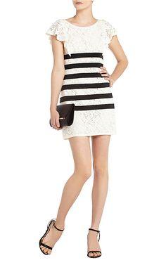 Renata Lace Striped Bias BCBG MaxAzria Black White Cocktail Dress