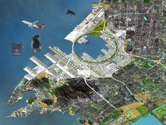 Image 5 of 13 from gallery of City As A Vision: Tribute to Michel Ragon. OMA Qianhai Port City, Concept of masterplan, 2010 © OMA. Image Courtesy of FRAC Centre Architecture Magazines, Architecture Plan, Landscape Architecture, Landscape Designs, Urban Landscape, Nature Company, Plan Maestro, Urban Analysis, Futuristic Art