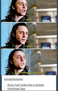 """I am Loki of Asgard, and I am burdened with glorious purpose"" ""Dude, you're hair looks like a sinister Christmas tree..."""