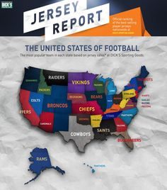 The Most Popular and Best Selling NFL Jerseys Based On States In The USA. http://thilmas.com/2014/the-most-popular-and-best-selling-nfl-jerseys-based-on-states-in-the-usa/ #NFL #NFLJerseys #MostPopularNFLJerseys #BestSellingNFLJerseys #NFLJerseysSales #NFLTeamJerseys