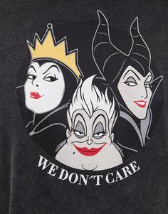 Short sleeve T-shirt with a contrast Disney villain illustration, a 'We don't care' slogan and a round neckline. Walt Disney, Evil Disney, Disney Diy, Cute Disney, Disney Pixar, Disney Pin Up, Cartoon Wallpaper, Disney Wallpaper, Deviantart Disney