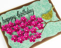 Happy Birthday Card,  Pink Floral Card