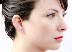 Silver Bar Ear Cuff Shiny Sterling Silver Line by lunaijewelry