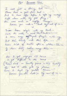 Photo of Fat Bottomed Girls - Freddie Mercury hand-written lyrics for fans of Queen.