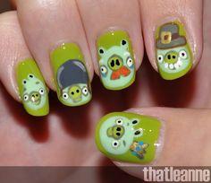 thatleanne: Angry Birds Nail Art feat. the piggies!