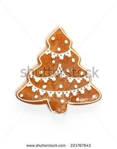 Christmas gingerbread cookie isolated on white - stock photo