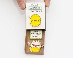 Cute Surprise Birthday Wishes Matchbox/ Card/ Small door shop3xu: