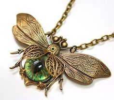 Steampunk Necklace Eye Bee lieve In You Large Bee Necklace Evil Eye Jewelry Couture Jewelry Statement Necklace. $39.99, via Etsy.
