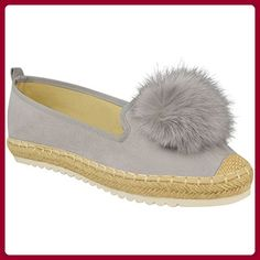 b018e7af45b2c0 Damen Espadrilles mit Kunstfell-Bommeln - flache Slipper-Schuhe - Größe  36-41
