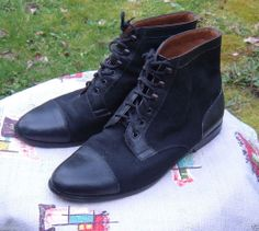 Vintage BLACK Canvas/Leather ANKLE BOOTS 37/7 Lace-Up Cap Toe ITALY FR. ROSSETTI