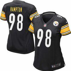 Nike Pittsburgh Steelers Women Black Jersey #98 Elite Casey Hampton NFL Jersey Sale