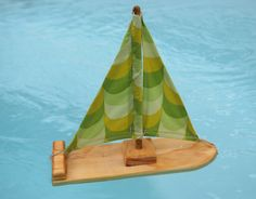 This green wave pattern reminds me of Nessie's scales- great for the tub or the pond. Wooden Sailboat, Wave Pattern, Surfboard, Etsy Seller, Buy And Sell, Creative, Green, Handmade, Stuff To Buy