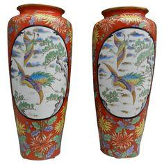 Tressmann & Vogt, Pair of High Limoges Porcelain Vases, circa 1910